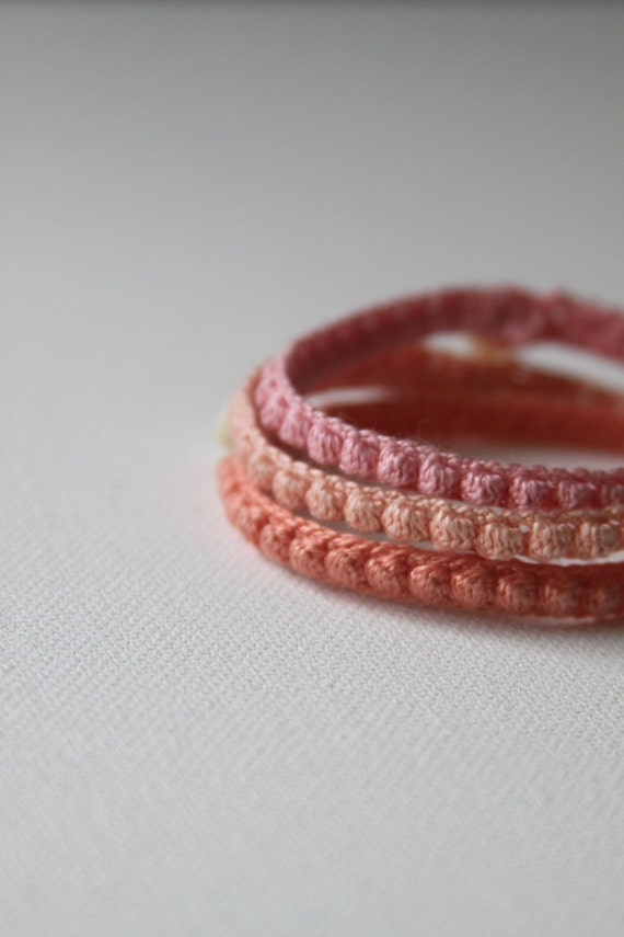 Three Crocheted Bracelets -- Sweet Sherbet Bobbles