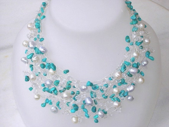 Turquoise Necklace Silver Real Pearls Nautical Bridal Wire Wrapped Modern Beaded necklace, Unique wedding statement jewelry