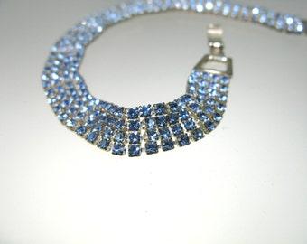 Sale: 224 Baby blue Swarovski crystal four row mesh bracelet