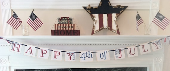Happy 4th of July Banner For 4th of July Decoration/ Red White and Blue Decoration Sign / Banner