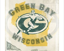 Green Bay Packers print - Title Town print - Packers Football poster - Packers fan gift - Man Cave decor - Lambeau Field Green Bay Wisconsin