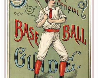 "Baseball decor - Spaldings 1889 Baseball Guide print - Vintage baseball print poster -13""x19"" or 24""x36"" - Boys Room Man Cave sports decor"