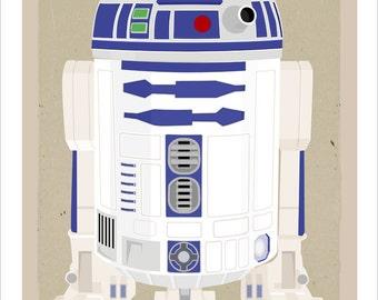 Starwars poster - Star Wars r2d2 poster - 8x10, 11x14 or 16x20 print - Star Wars movie print - Boys room decor