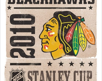 Chicago Blackhawks Stanley Cup Print 13 X19 Boys Room Man Cave