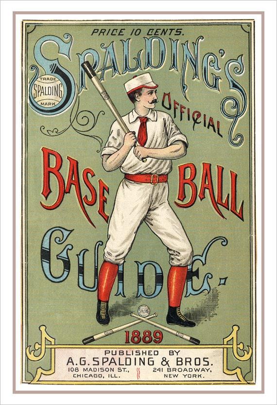"Baseball decor - Spaldings 1889 Baseball Guide print - Vintage baseball print poster -13""x19"" or 24""x36"" - Boys Room Man Cave sports decor"