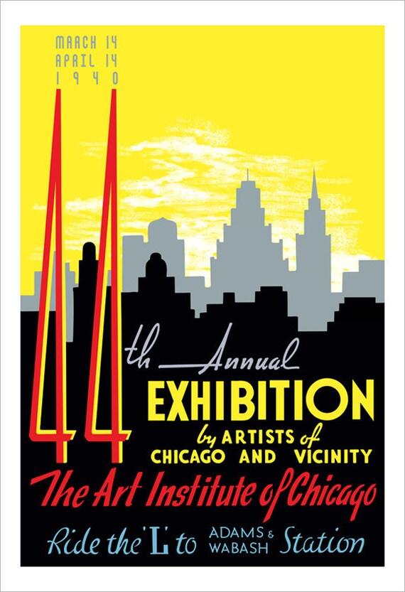 Chicago art print - 1940 Artists Exhibition - WPA Poster Print -13x19 -