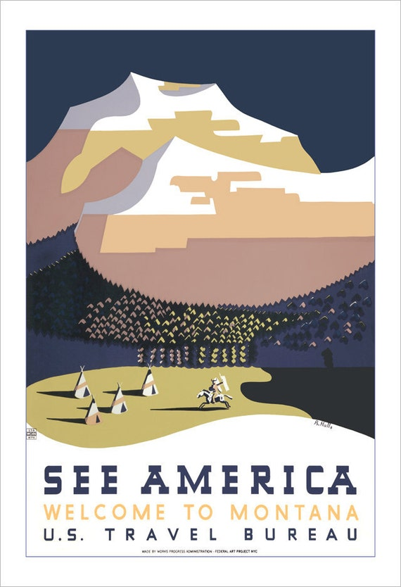 Montana art print - See America - 13x19-  WPA Poster Print -