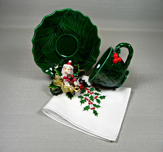 Christmas Tea Cup & Saucer SALE  Lefton Holly with Vintage Hankie and Christmas Corsage Santa Pin Gift Set