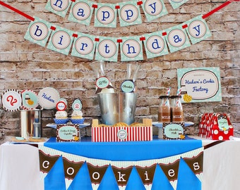 Boys Cookies & Milk Party Decorations Printable Party Package by 505 Design Paperie