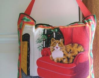 SALE - Christmas Door Hanger -  Cat Waiting For Santa