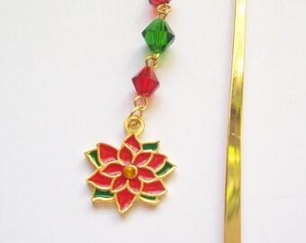 SALE - Christmas Bookmark - Christmas Poinsettia Shepherd Hook Bookmark
