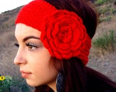 Hand Knitted Headband -  Ear Warmer - Head Warmer with Crochet Flower - Vegan Friendly - Gift for Her