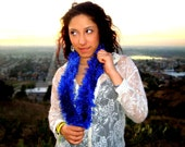 Super Soft Furry Scarf - Knitted Scarf in Midnight Blue - Soft Neck Warmer - Vegan Friendly Scarf