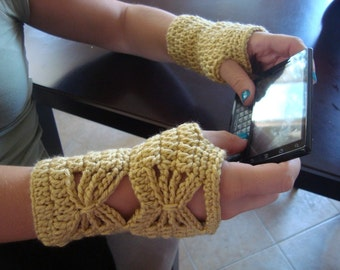 Crochet Wrist Warmers - Fingerless Gloves - Butterfly Mitts - All Seasons - Vegan Friendly
