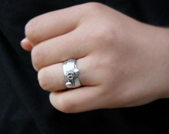 Sterling Silver Wide Band Ring - Fun Whimsical Design