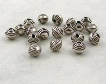 Oxidized Fine Silver Karen Hill Tribe Beads 20 Pc - Spiraled Wrapped 4mm - Oakhill Silver Supply MB1a
