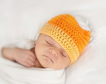 Crochet Baby Hat Candy Corn Newborn to 5T Beanie - MADE TO Order