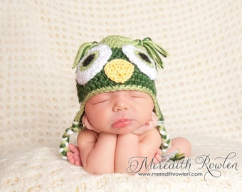 Crochet Baby Owl Earflap Hat - Newborn to 10 years - Pistachio and Dark Sage - MADE TO ORDER