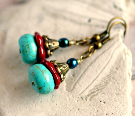beaded earrings turquoise and glass on antique brass