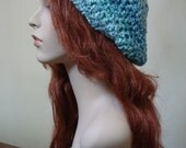 "Hand Crocheted Beret - ""Lovely Waterfall Blues"" Soft and chunky, gifts for her"