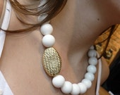 White Coral Necklace, Big White Necklace, Statement Stones Necklace, Natural Stones Necklace, Gold Plated Piece, White and Gold Necklace