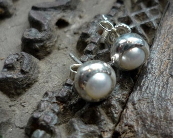 Pearl post Earrings, Sterling Silver studs, White Pearl Earrings, Small Pearl Earrings, Pearl Post Earrings, Casual Studs FUEP192-4W