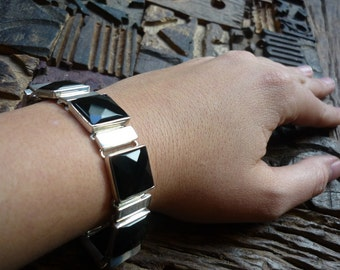 Onyx & Sterling Silver Bracelet, Square Stones Bracelet, Black Stones Bracelet, Statement Sterling Silver Bracelet, Onyx Gemstones Bracelet