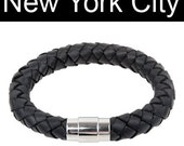 "10mm Black Braided Leather Wrist Bracelet Stainless Steel Magnetic Lock 6""- 9"" You Choose Length. BB1000BLK_MAS"