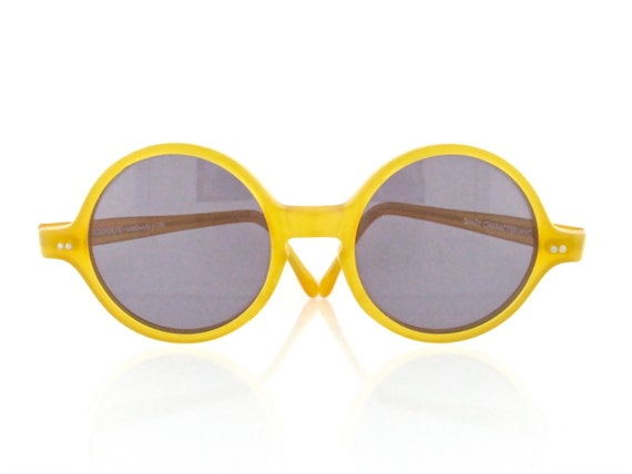 "Vintage 1980's Shady Character nyc ""roundeye"" honey butterscotch sunglasses - FREE DOMESTIC SHIPPING"