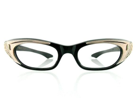 Sale - Vintage 1950's Pandora eyeglasses Black Swan frames - FREE DOMESTIC SHIPPING