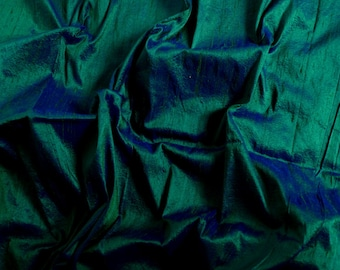 Silk Dupioni in Rich teal / peacock green with bright blue shimmers,Fat Quarter D 101