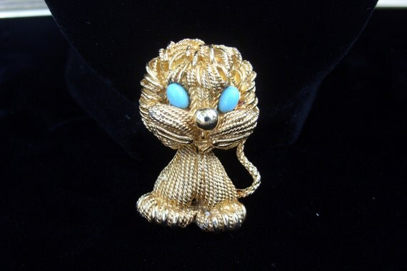 Vintage Gold Spaghetti Style Puppy Dog or Kitty Cat Brooch