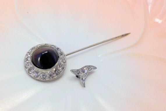 Vintage Silver Black Clear Rhinestones Stick Pin Beautiful Closure