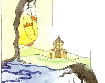 Original watercolor-Akhtamar armenian tale