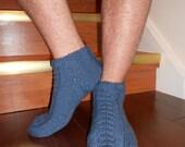 Cable Slipper-Socks for Him handknitted in Denim Blue