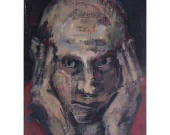 art Man original painting portrait FRAMED people figurative Gaze