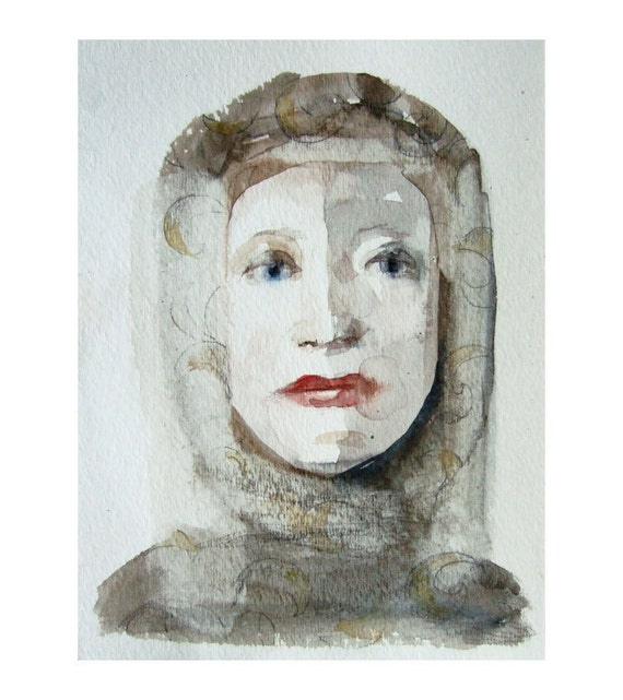 QUEEN original watercolor painting  figurative woman portrait