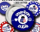 INSTANT DOWNLOAD New Patriotic 4th of July Lady Bug (507) Button Images 1,313 Inch (1 inch Button) Digital Collage Sheet for Badges Buttons