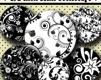 INSTANT DOWNLOAD Black and White Floral (236) 4x6 Digital Collage Sheet 1/2 half inch (0.5 inch size)  mini bottle cap images resin pendants