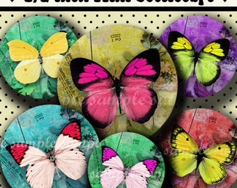 INSTANT DOWNLOAD Colorful Butterflies (239) 4x6 Digital Collage Sheet 1/2 half inch (0.5 inch size) mini bottle cap images glass tiles ..