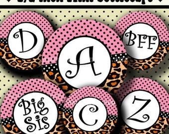 INSTANT DOWNLOAD Pink Leopard Alphabet (240) 4x6 Digital Collage Sheet 1/2 half inch ( 0.5 inch size )  mini bottle cap images glass tiles