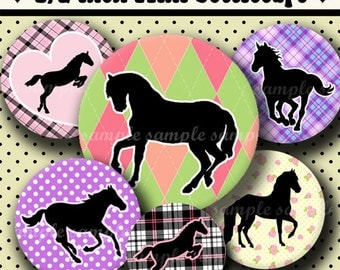 INSTANT DOWNLOAD I Love Horses (241) 4x6 Digital Collage Sheet 1/2 half inch (0.5 inch size) mini bottle cap images glass tiles ..