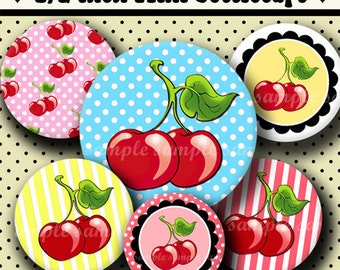 INSTANT DOWNLOAD I Love Cherries (243) 4x6 Digital Collage Sheet 1/2 half inch ( 0.5 inch size ) mini bottle cap images glass tiles ....