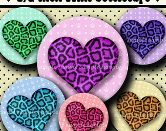 INSTANT DOWNLOAD Girly Leopard Hearts (318) 4x6 Digital Collage Sheet 1/2 half inch ( 0.5 inch size ) mini bottle cap images glass tiles