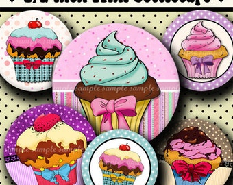 INSTANT DOWNLOAD Lovely Cupcakes Desings (320) 4x6 Digital Collage Sheet 1/2 half inch ( 0.5 inch size )  mini bottle cap images glass tiles