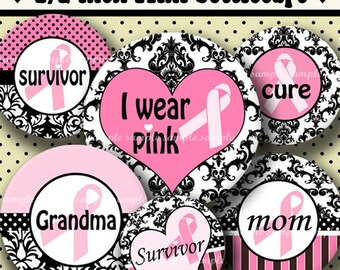 INSTANT DOWNLOAD Damask Breast Cancer Pink Ribbons (330) 4x6 Digital Collage Sheet 1/2 half inch ( 0.5 inch size ) mini bottle cap images