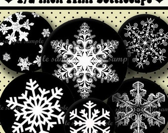 INSTANT DOWNLOAD Black and White Snowflakes (331) 4x6 Digital Collage Sheet 1/2 half inch ( 0.5 inch size )  mini bottle cap images