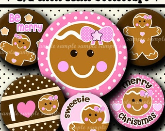 INSTANT DOWNLOAD Christmas Girly Gingerbread (369) 4x6 Digital Collage Sheet 1/2 half inch (0.5 inch size) mini bottle cap images glass tile