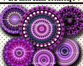 INSTANT DOWNLOAD Purple Mandalas (462) 4x6 Digital Collage Sheet 1/2 half inch ( 0.5 inch size ) mini bottle cap images  glass tiles images