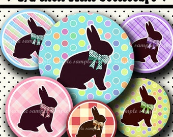 INSTANT DOWNLOAD Chocolate Easter Bunnies (463) 4x6 Digital Collage Sheet 1/2 half inch ( 0.5 inch size ) mini bottle cap images glass tiles